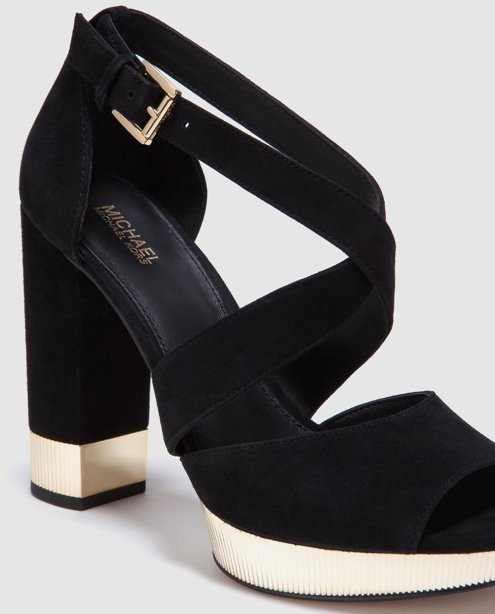 6fbe4ff47c5 ... Michael Kors Black Leather High-heel Sandals. Valerie Platform Model.  View fullscreen