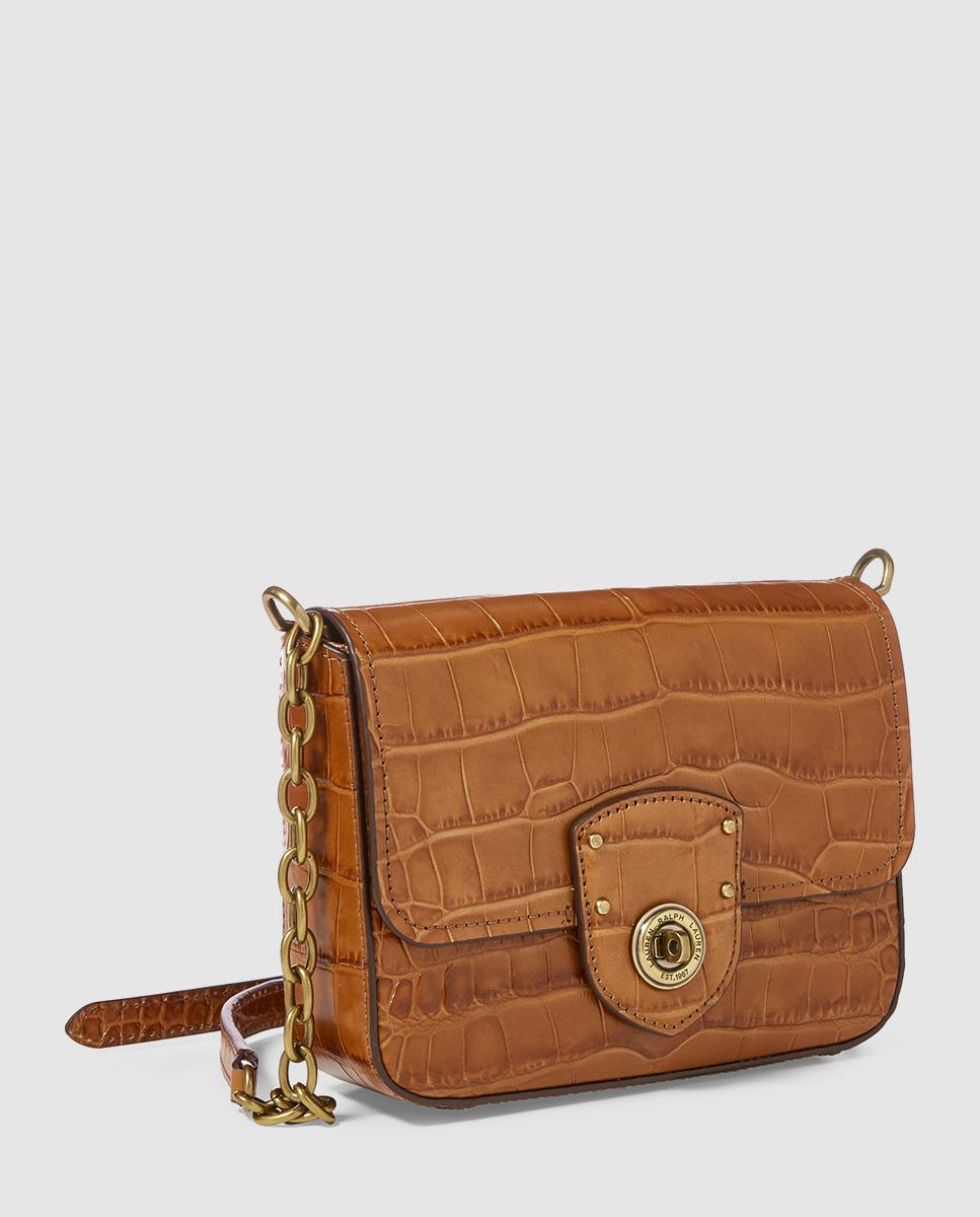 Lauren by Ralph Lauren Small Brown Mock-croc Leather Crossbody Bag With  Flap in Brown - Lyst ab9ee3b42b221