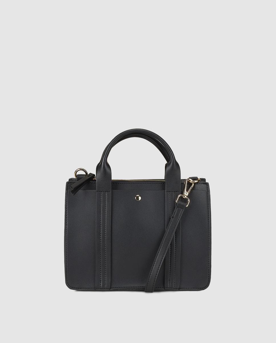 7b825dd33c El Corte Inglés Small Black Handbag With Front Strap With Top ...