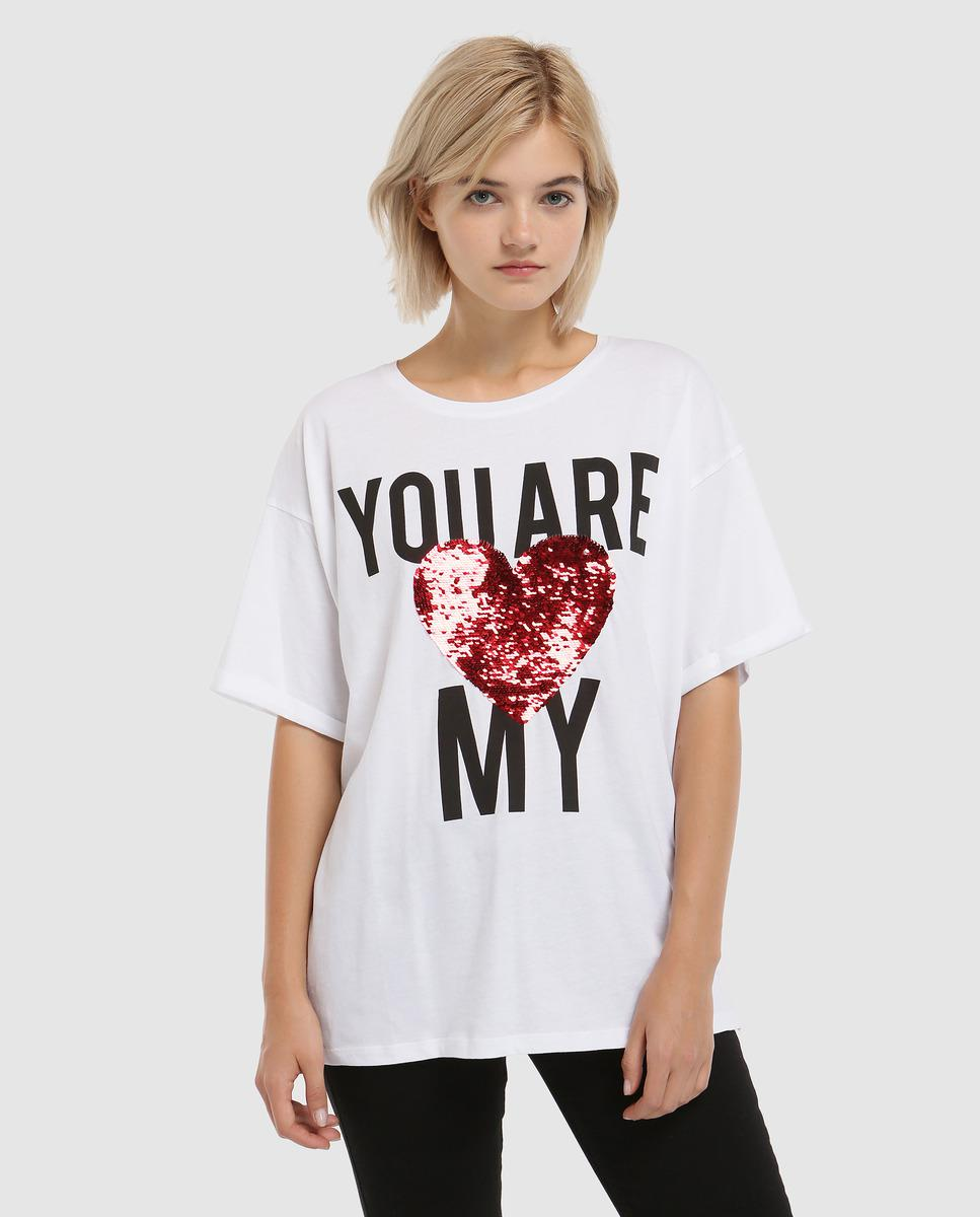 a403f15f4 Lyst - Green Coast T-shirt With Slogan And Sequins in White
