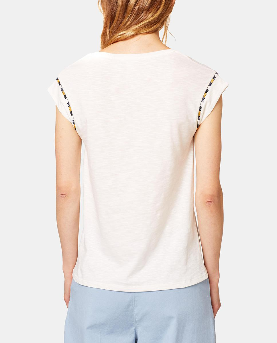 Lyst Esprit Short Sleeve T Shirt With Embroidery In White