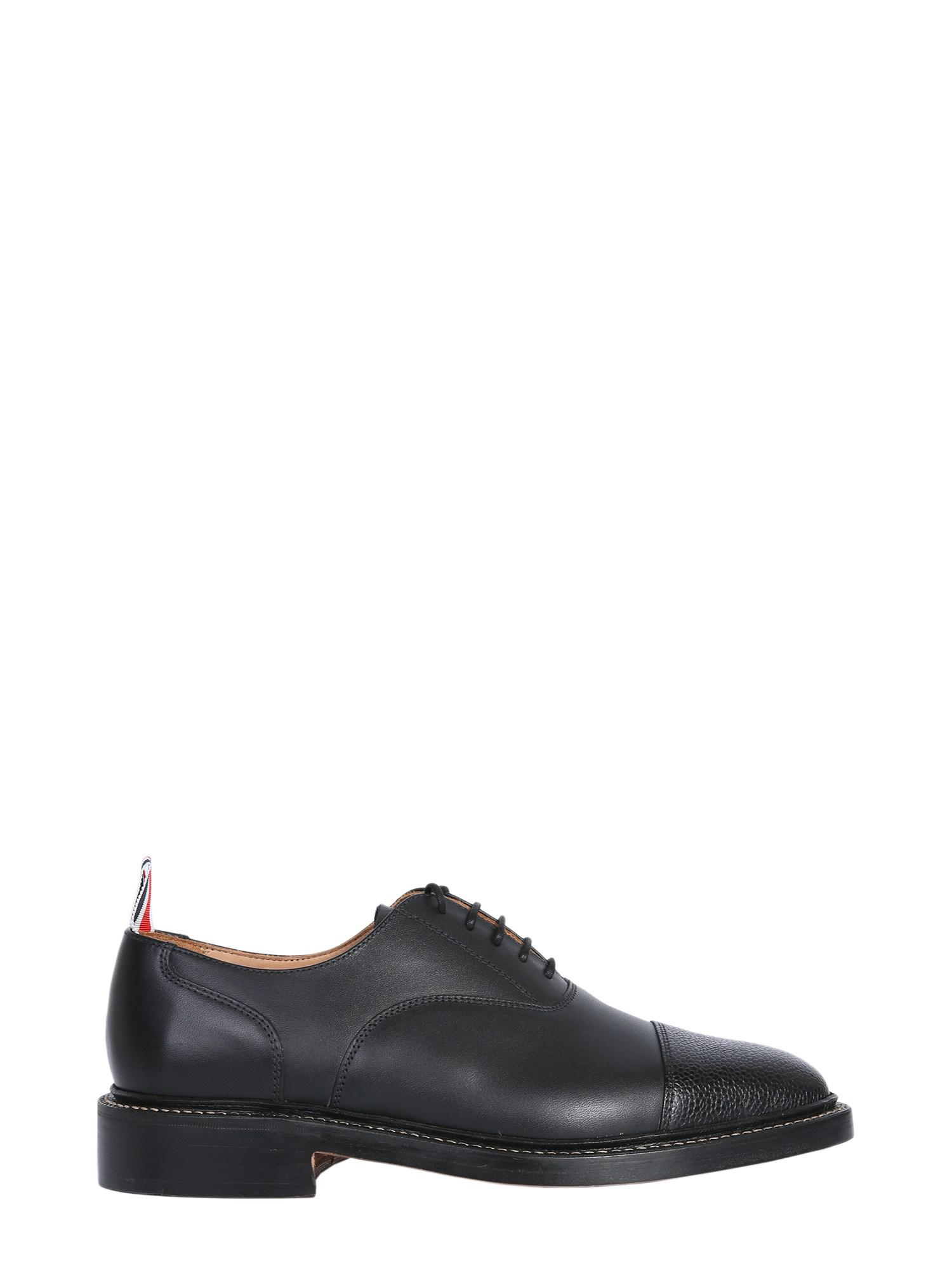 4e48eea328 Lyst - Thom Browne Leather Lace-up Shoes With Toe Cap in Black for Men