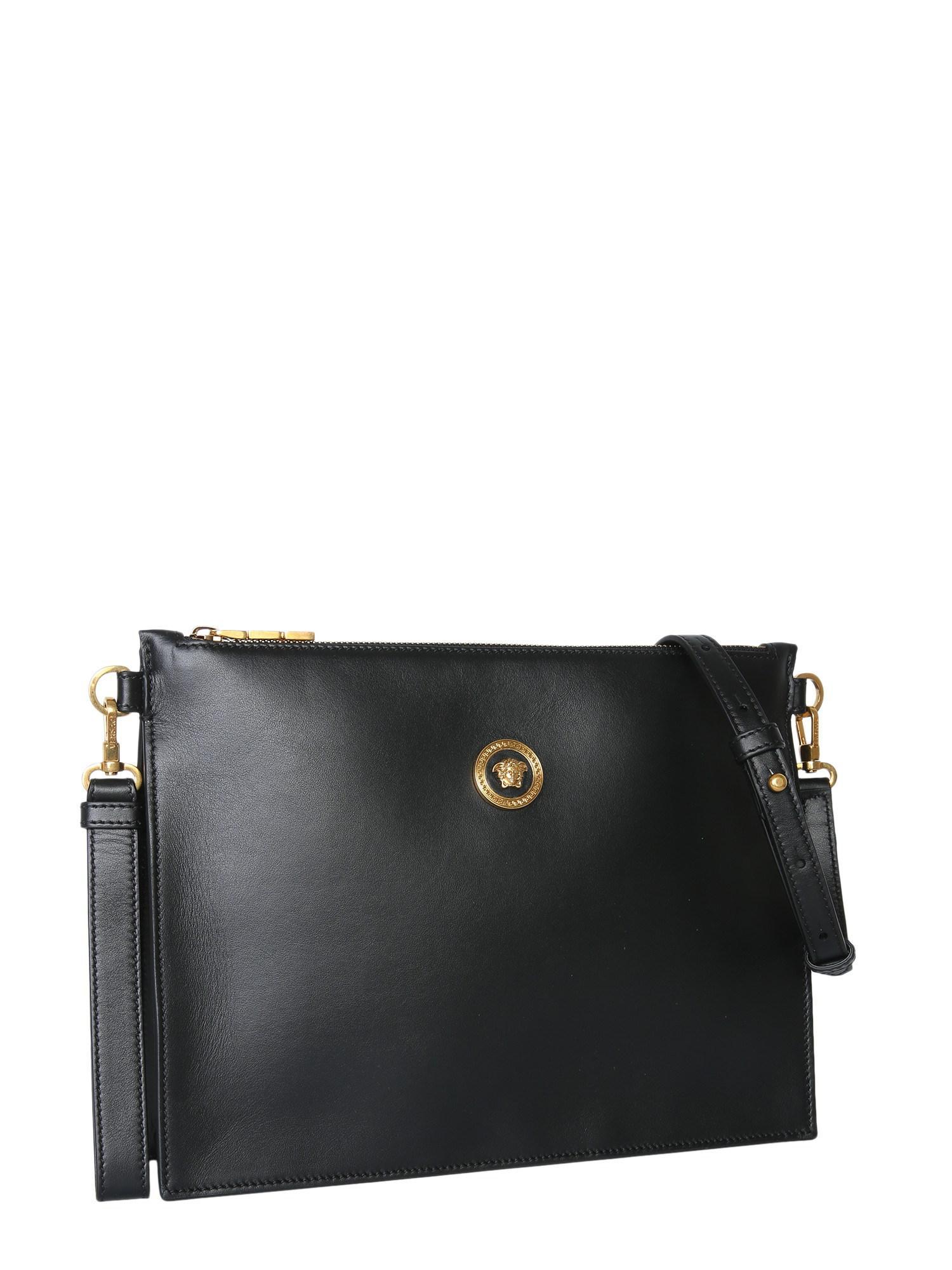 b3f4b1bd90 Versace - Black Large Medusa Leather Clutch - Lyst. View fullscreen