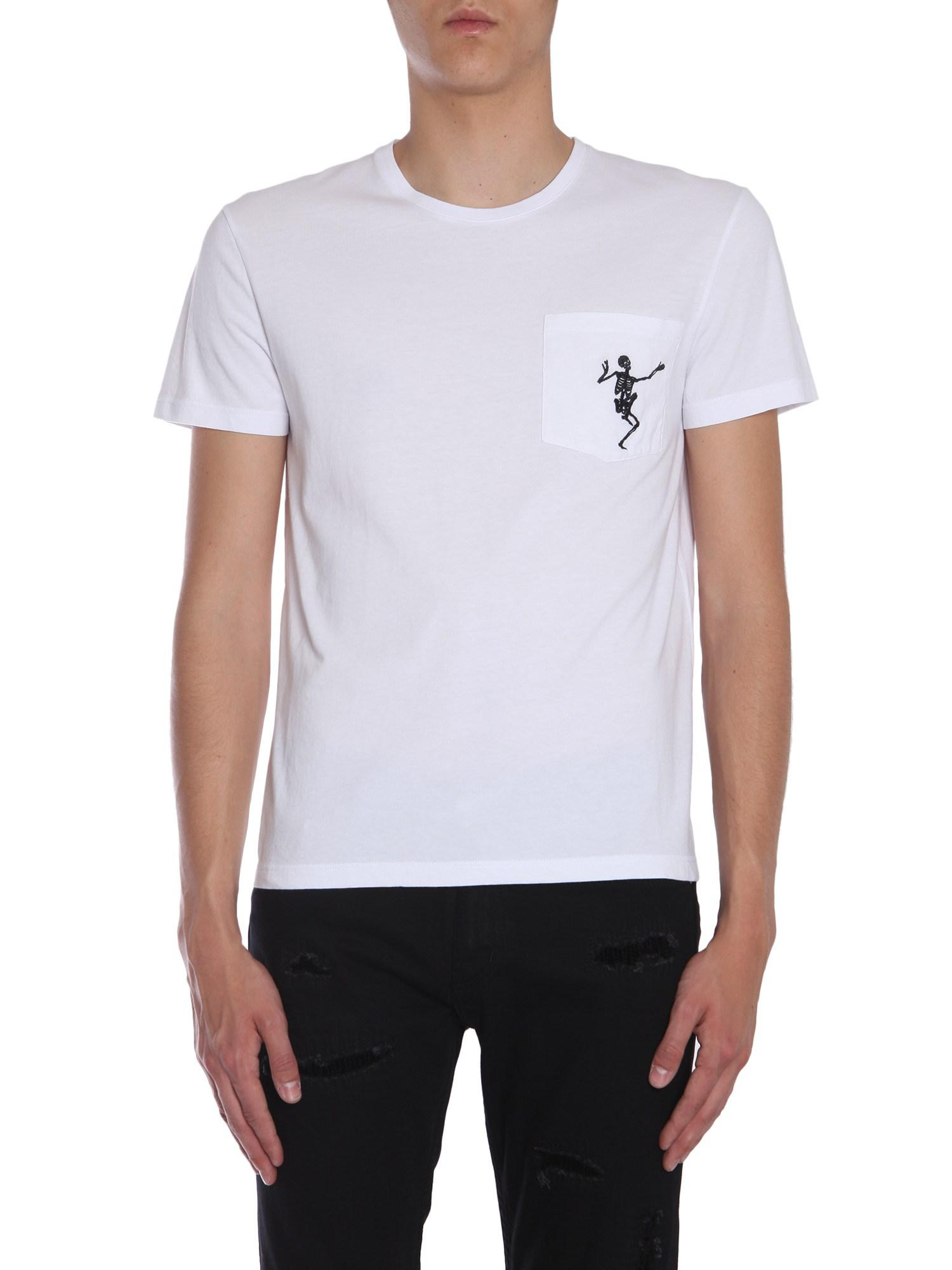 000e0bfd Alexander McQueen. Men's White Cotton T-shirt With Dancing Skeleton  Embroidery