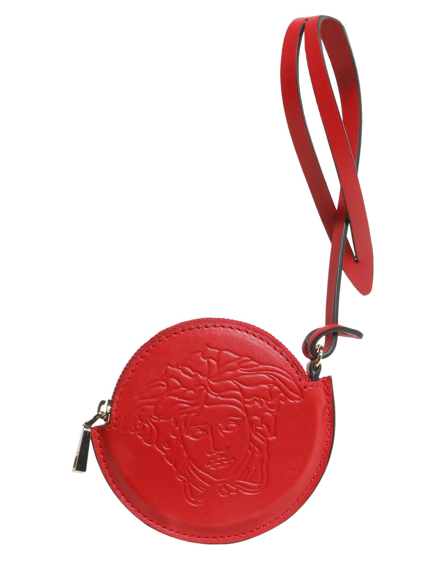 192cc5ee73a4 Versace Leather Medusa Head Charm in Red - Lyst