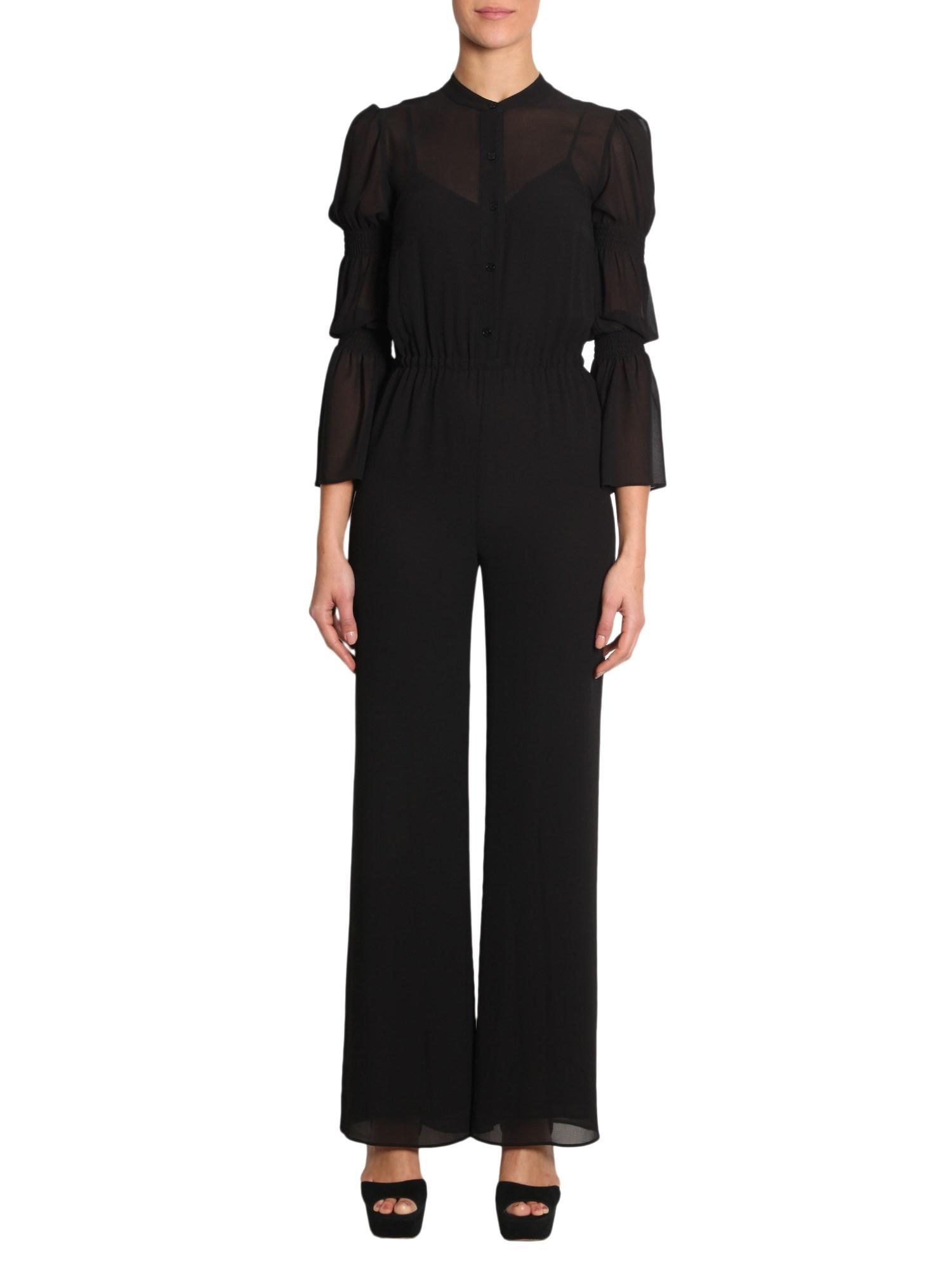 931bb4926d4 MICHAEL Michael Kors. Women s Black Long Sleeve Crêpe Jumpsuit With Smocked  Detail