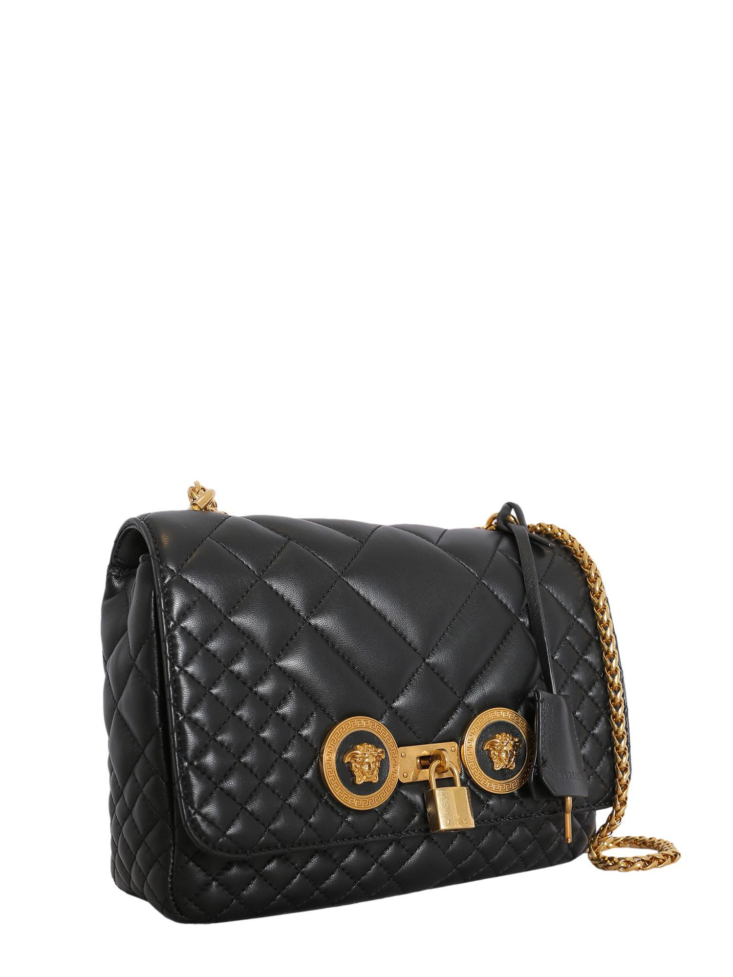 Versace - Icon Shoulder Bag In Black Quilted Calfskin - Lyst. View  fullscreen b728d2f06ab85