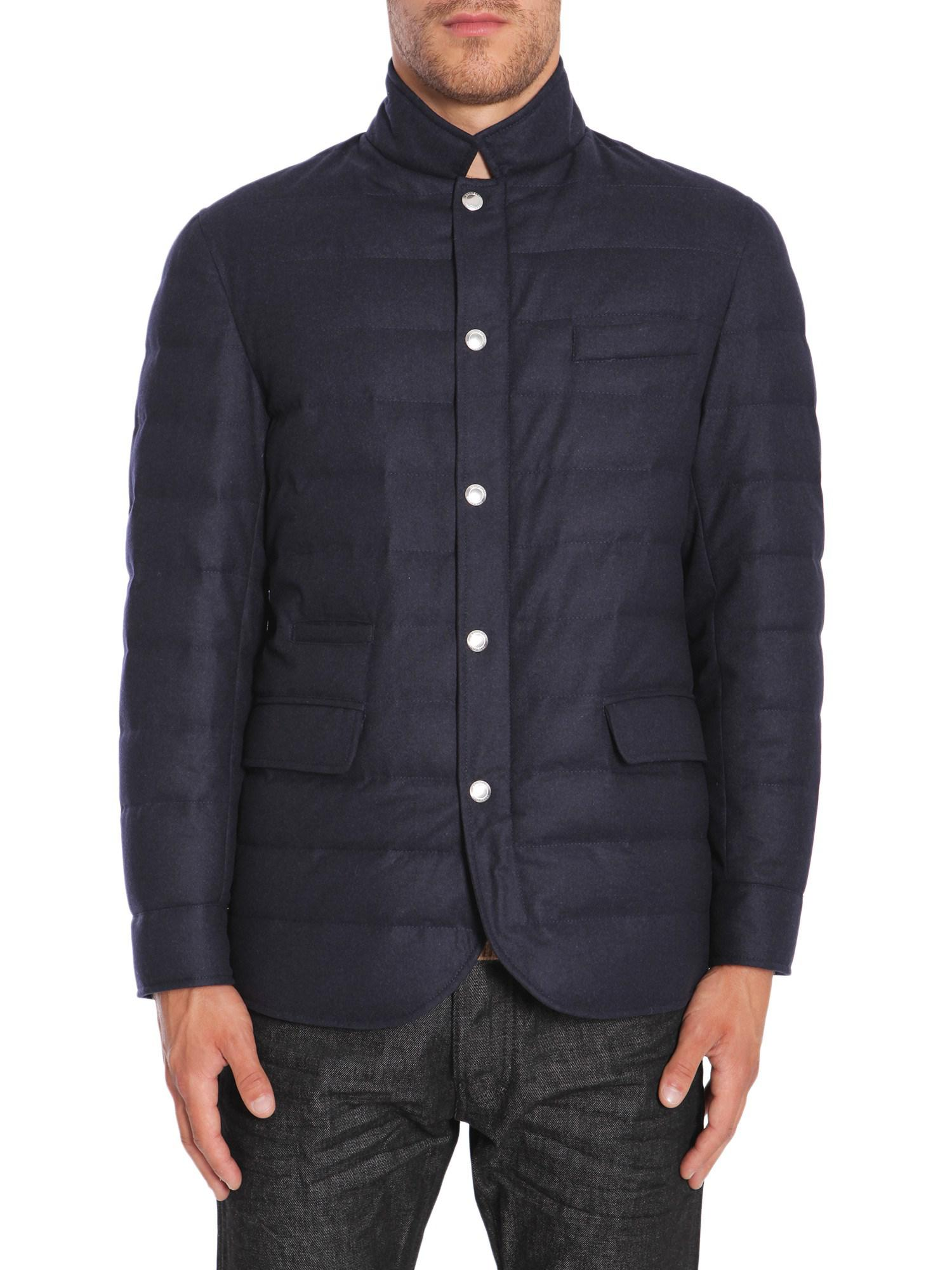 37cd3f2a092 Lyst - Brunello Cucinelli Waterproof Wool Blend Down Jacket in Blue ...