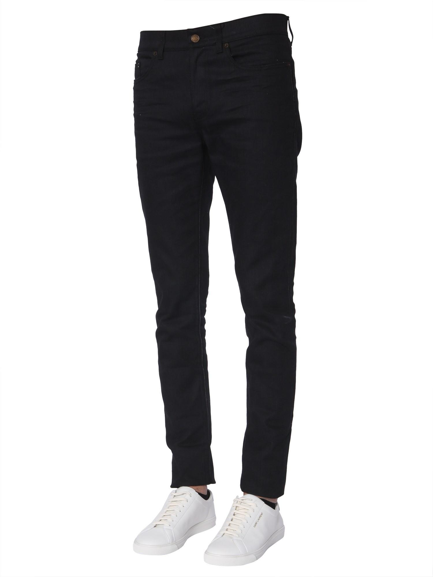 b033fab327d Lyst - Saint Laurent Low Waist Skinny Jeans In Denim in Black for Men