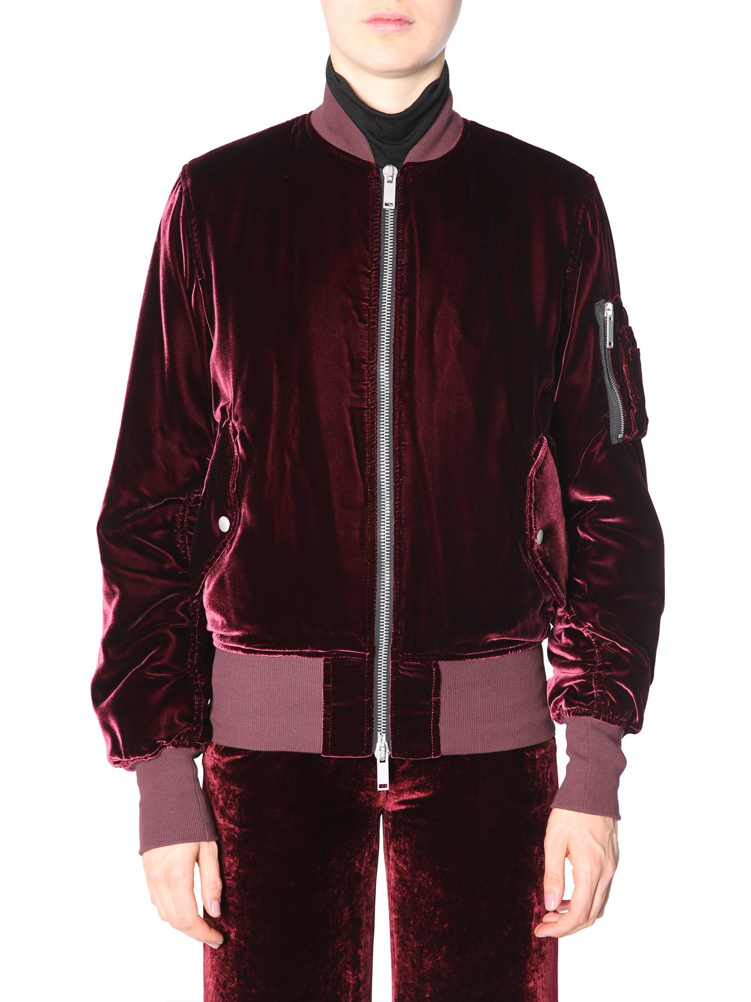 be57b9e5d8513 Lyst - Unravel Bomber In Velluto Con Zip