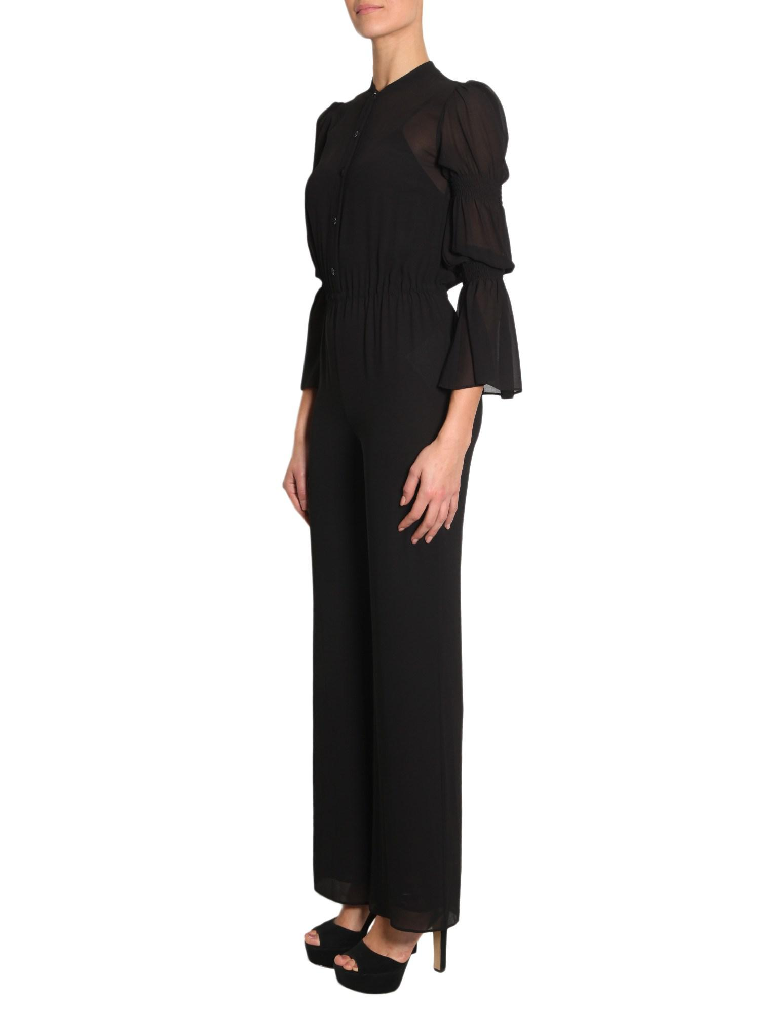 224e5940d19 Lyst - MICHAEL Michael Kors Long Sleeve Crêpe Jumpsuit With Smocked Detail  in Black