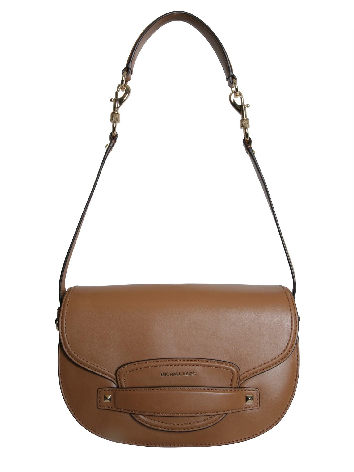 2a03a825e84c Michael Michael Kors Medium Cary Leather Shoulder Bag in Natural - Lyst