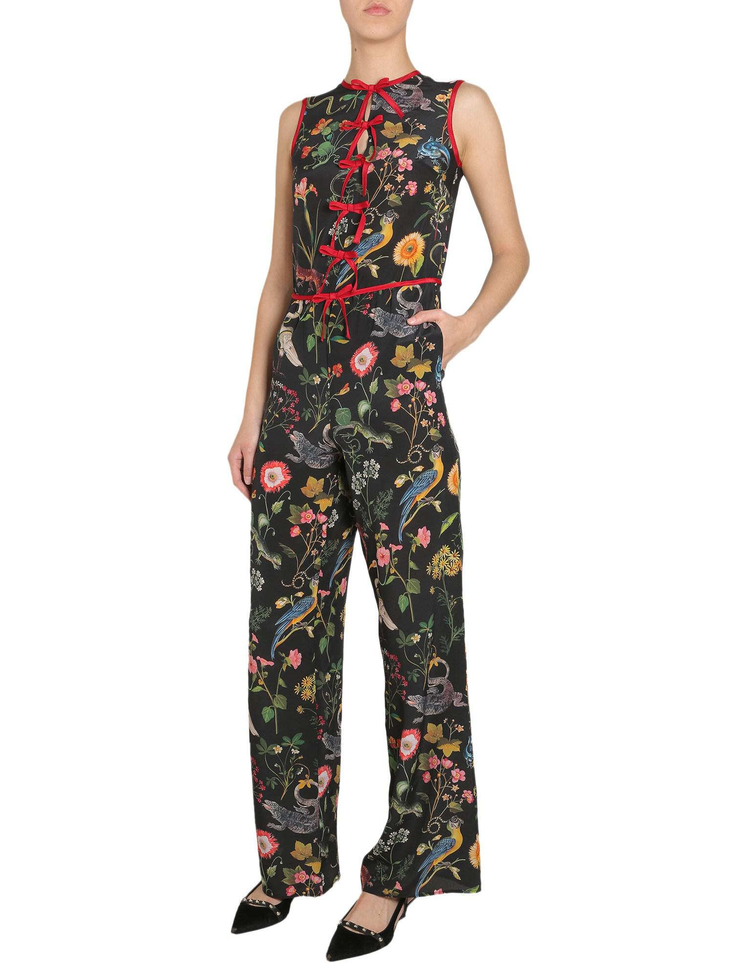 2fddf9a11a Lyst - RED Valentino Silk Sleeveless Jumpsuit With Fauna Print in Black