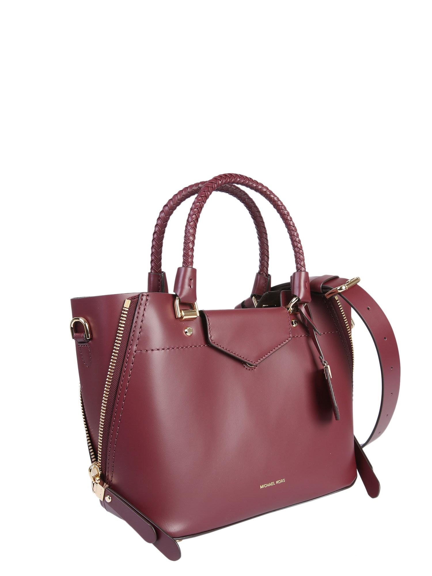 f2c89194f0fd Lyst - MICHAEL Michael Kors Blakely Leather Handbag in Red