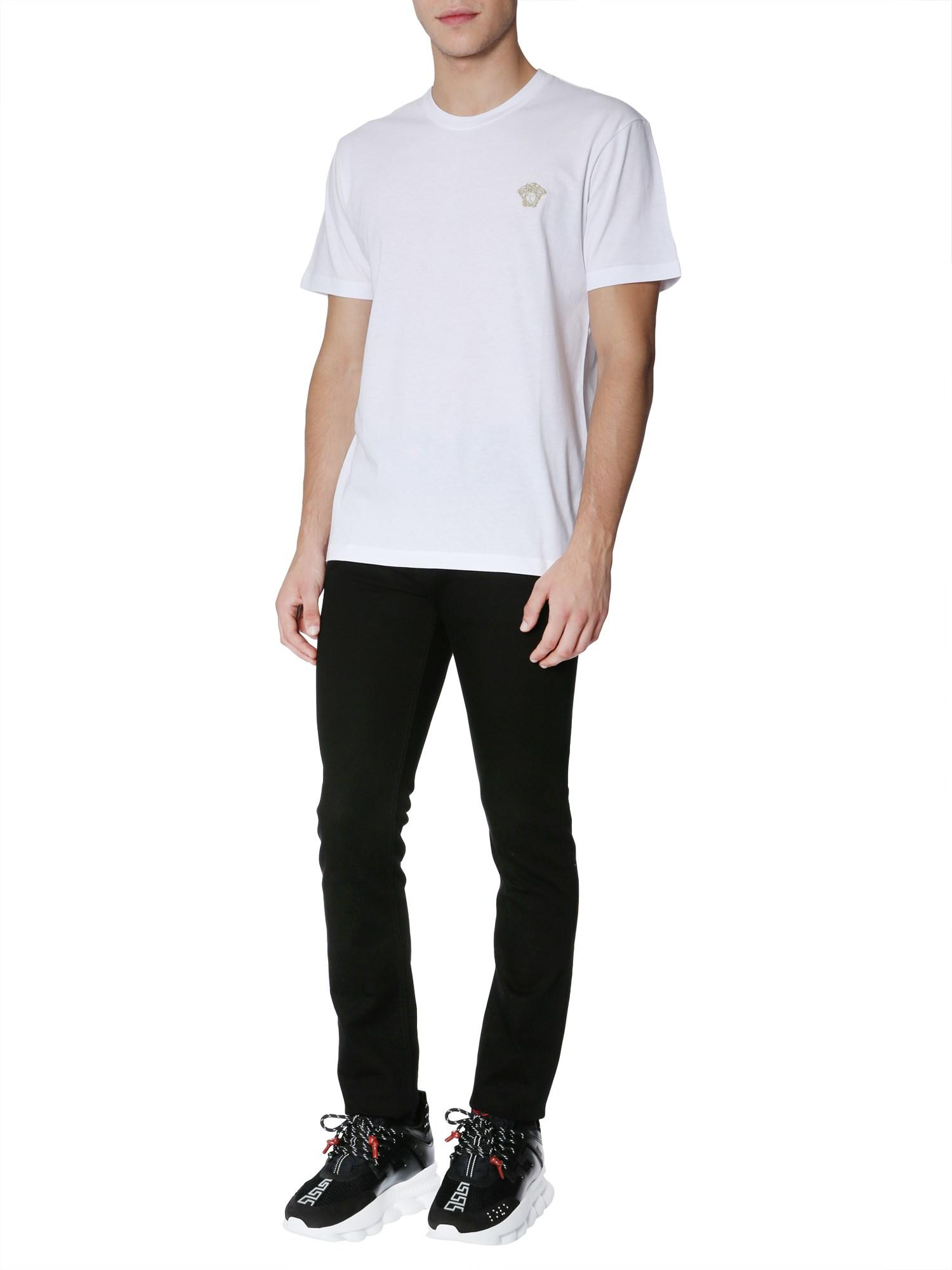 0055524fdea6 Lyst - Versace Round Collar Cotton T-shirt With Embroidered Medusa ...
