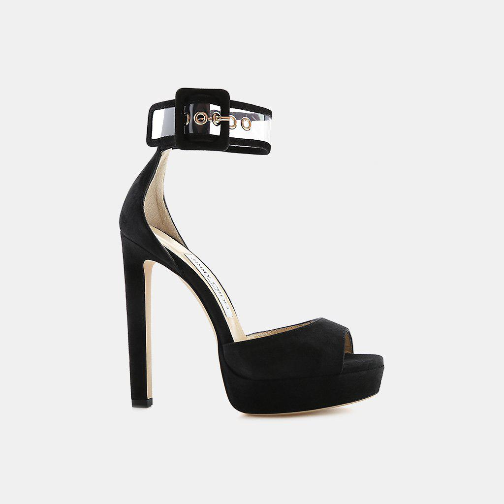 8b84589a44f Lyst - Jimmy Choo Mayner 130 Suede And Perspex Transparent Sandal in ...
