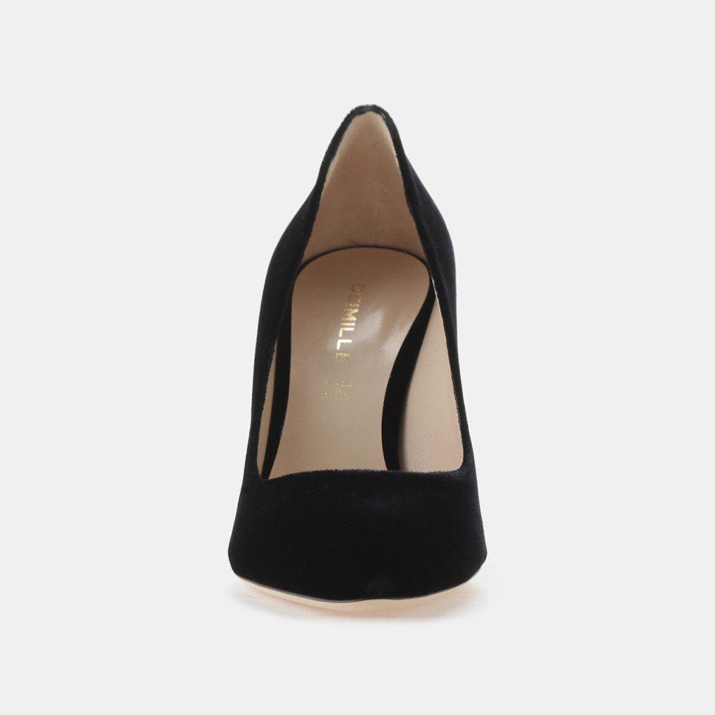 10d0be5534c Lyst - Deimille Madison Velvet Block Heel Pump in Black