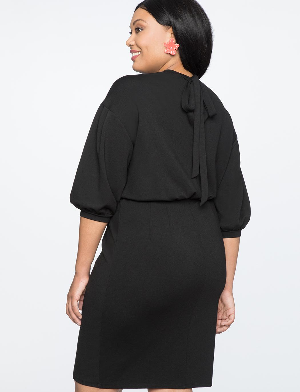 e57f715827 ... Puff Sleeve Tie Back Ponte Dress - Lyst. View fullscreen