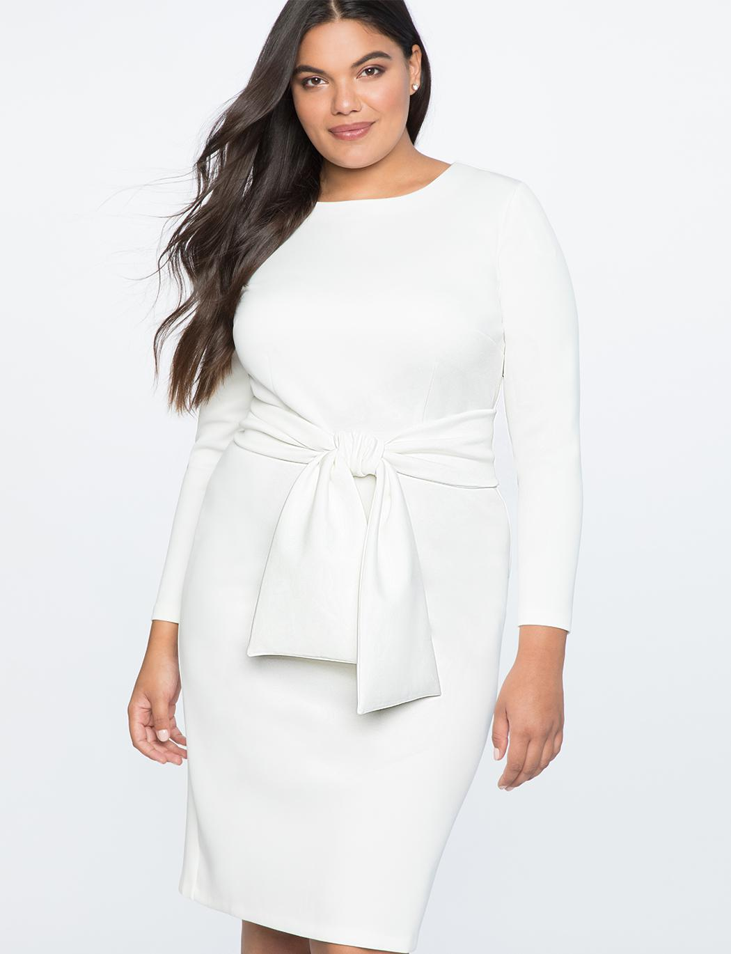 5b8413c632fd6d Lyst - Eloquii Long Sleeve Scuba Dress With Tie in White