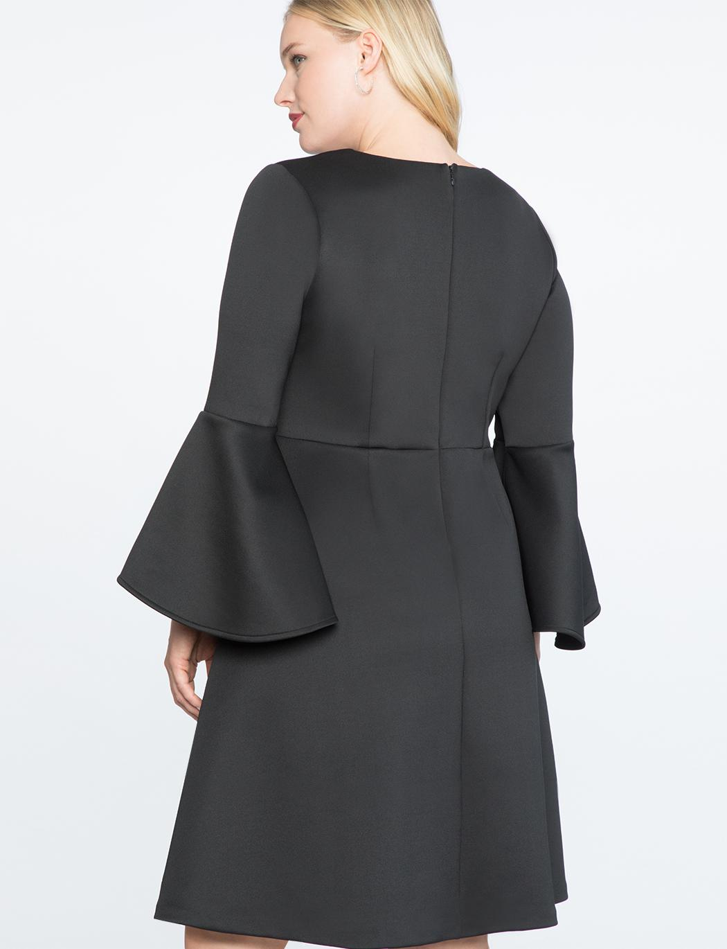 d079d994f41 Lyst - Eloquii Flare Sleeve Fit And Flare Dress in Black
