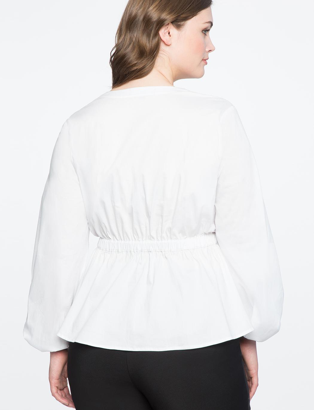 ea44282a617acd Lyst - Eloquii Wrap Front Puff Sleeve Top in White