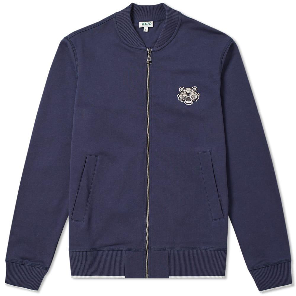 5fab751f5252 KENZO Tiger Logo Zip Bomber Jacket in Blue for Men - Lyst