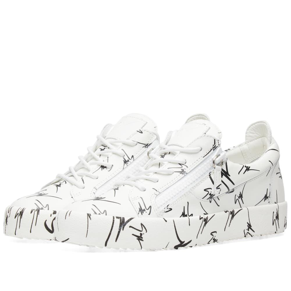 fe46b76475830 Giuseppe Zanotti Double Zip All Over Print Low Sneaker in White for ...