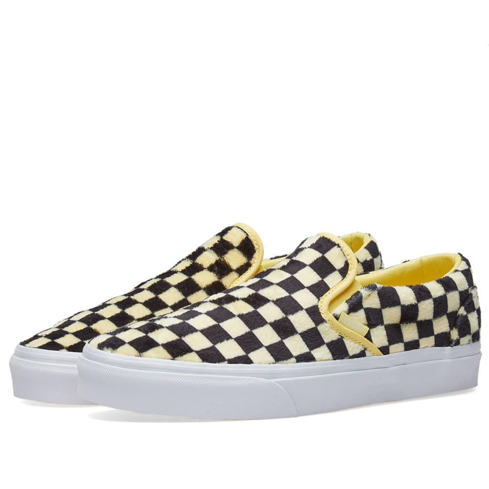 Fluffy Yellow Checkerboard Slip On Trainers - Yellow Vans Low Price Fee Shipping Online Sale Online Store New Styles Sale Online Discount Wiki Buy Cheap Reliable ICks9zt