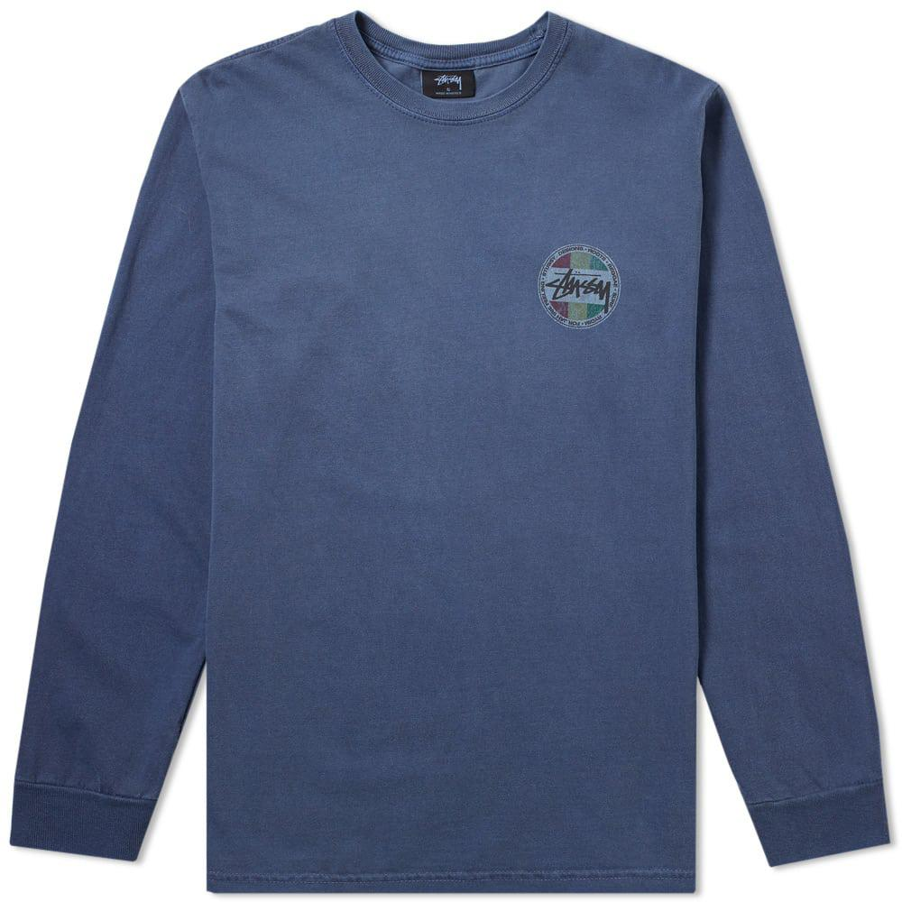 stussy sleeve vintage dot pigment dyed in blue