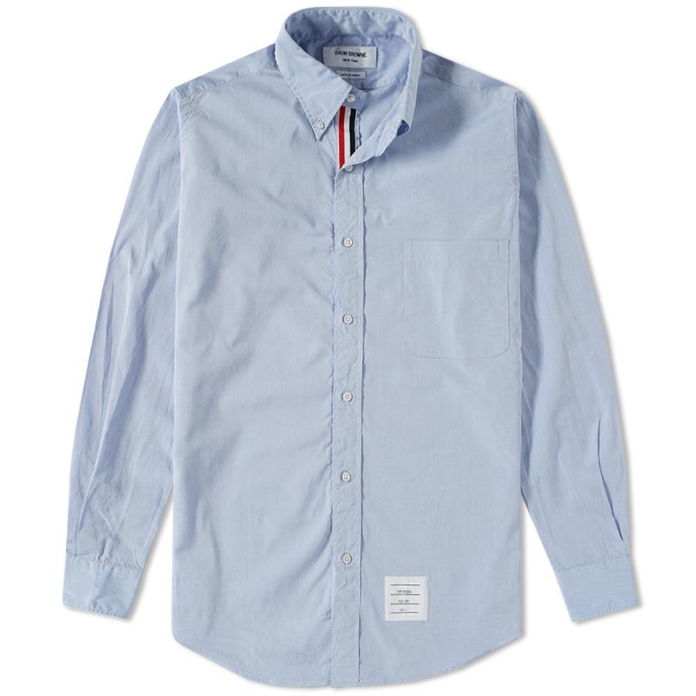 Thom browne grosgrain placket solid poplin shirt in blue for Thom browne shirt sale
