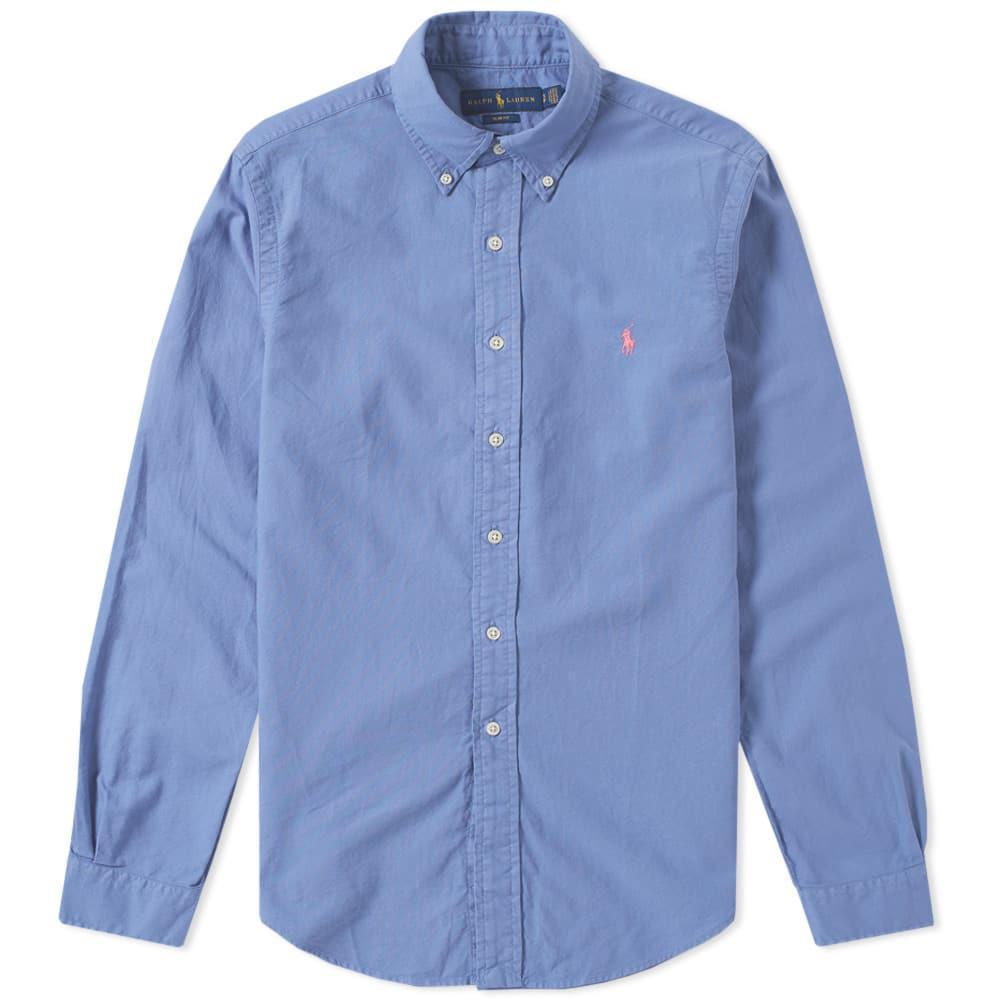 Ralph Lauren Slim-fit Button-down Collar Mélange Cotton Oxford Shirt - Gray 53V569xXgg