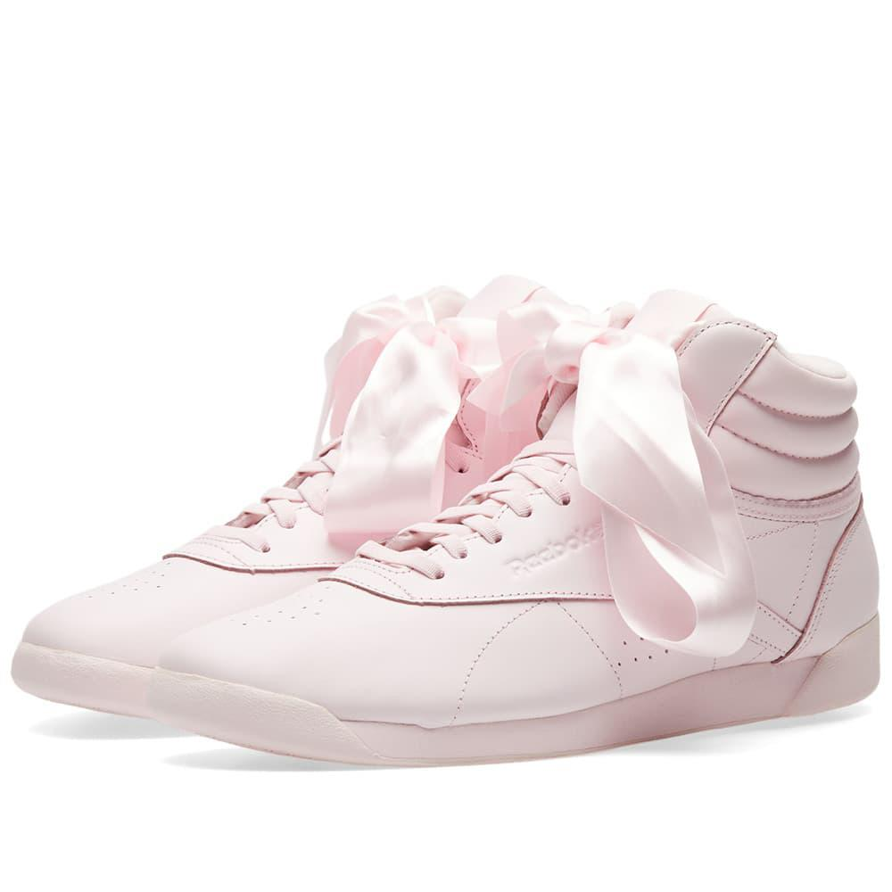 0757e25093b Reebok Freestyle Hi Satin Bow W in Pink - Lyst