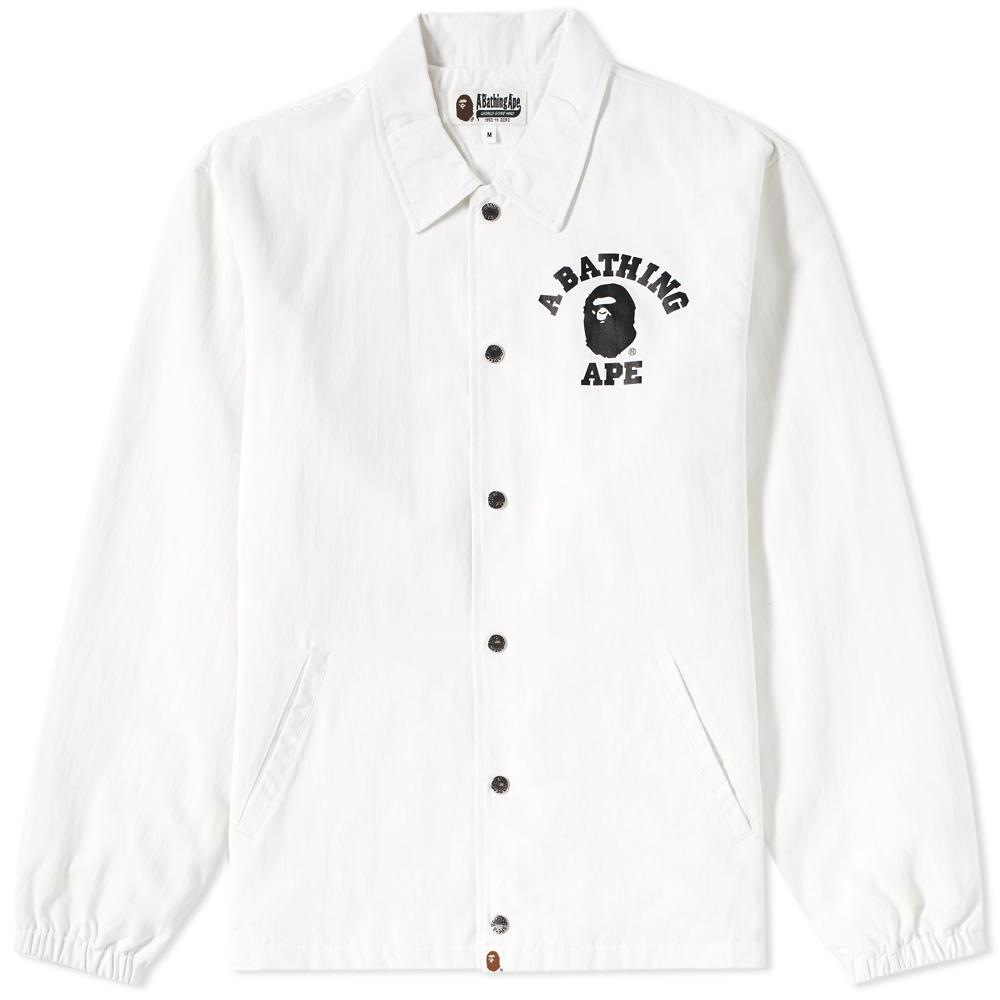 688a44ae2b81 Lyst - A Bathing Ape College Coach Jacket in White for Men
