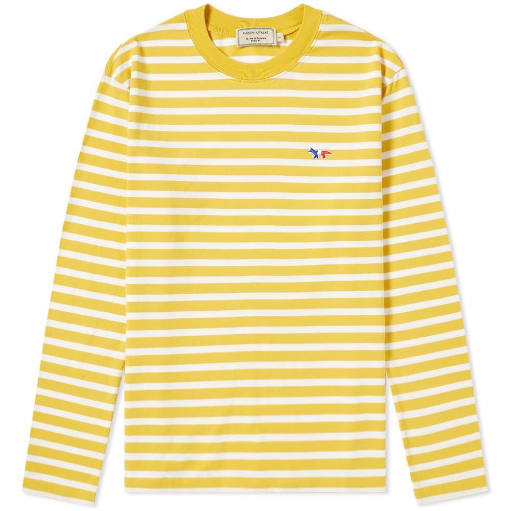 97f58fd13254 Maison Kitsuné. Men s Yellow Maison Kitsuné Long Sleeve Stripe Tricolour  Fox Patch Tee