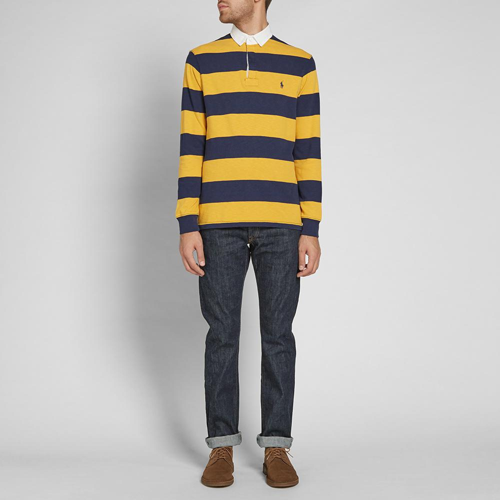 d5e23441 ... germany lyst polo ralph lauren stripe rugby shirt in yellow for men  417ca 52583