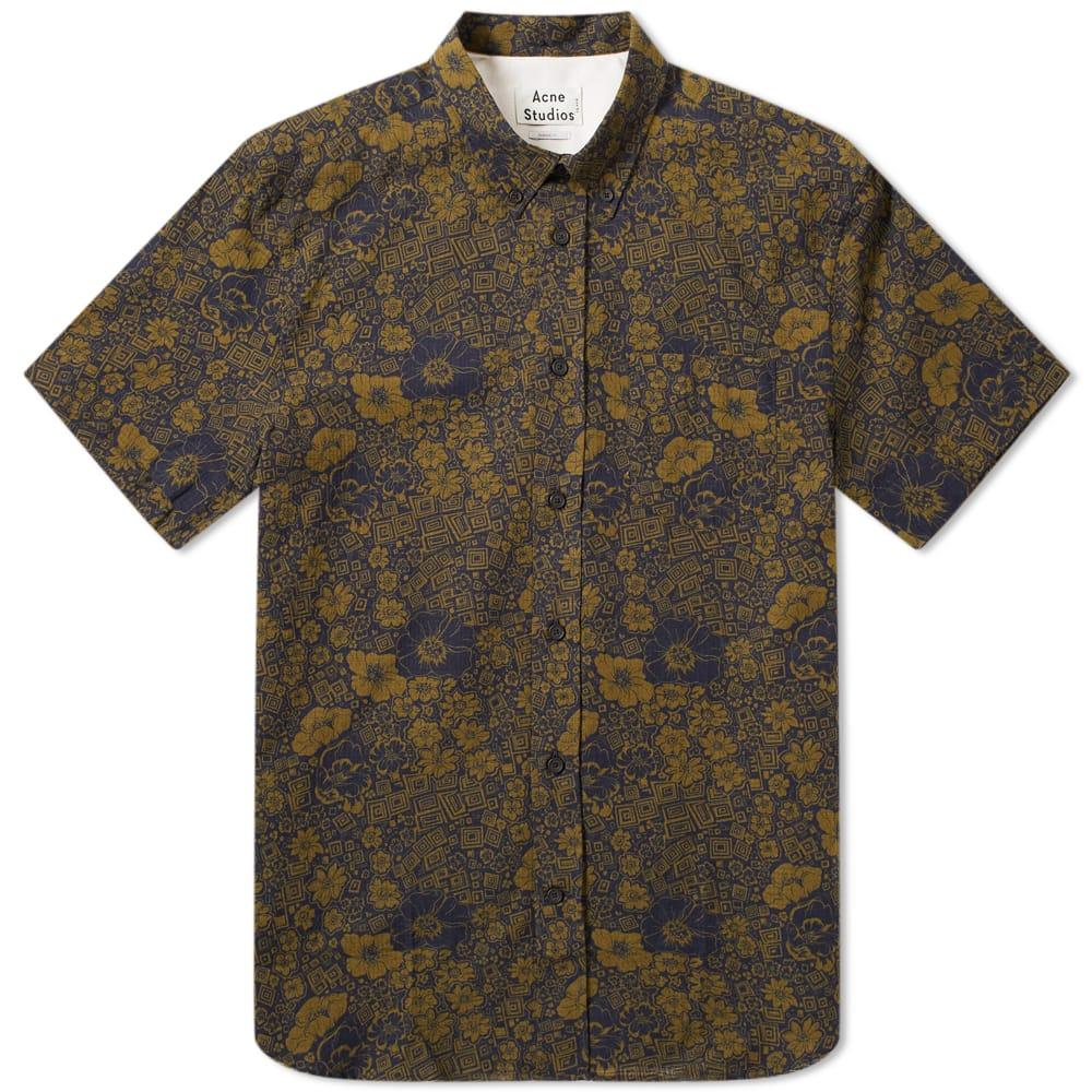 9d480eb4d9 Acne - Green Isherwood Floral Short Sleeve Shirt for Men - Lyst. View  fullscreen