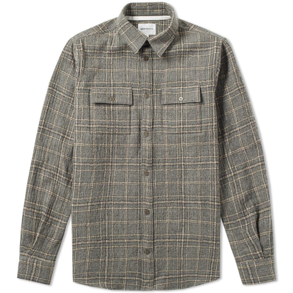 10b881c9b Norse Projects Villads Heavy Brushed Check Shirt in Gray for Men ...
