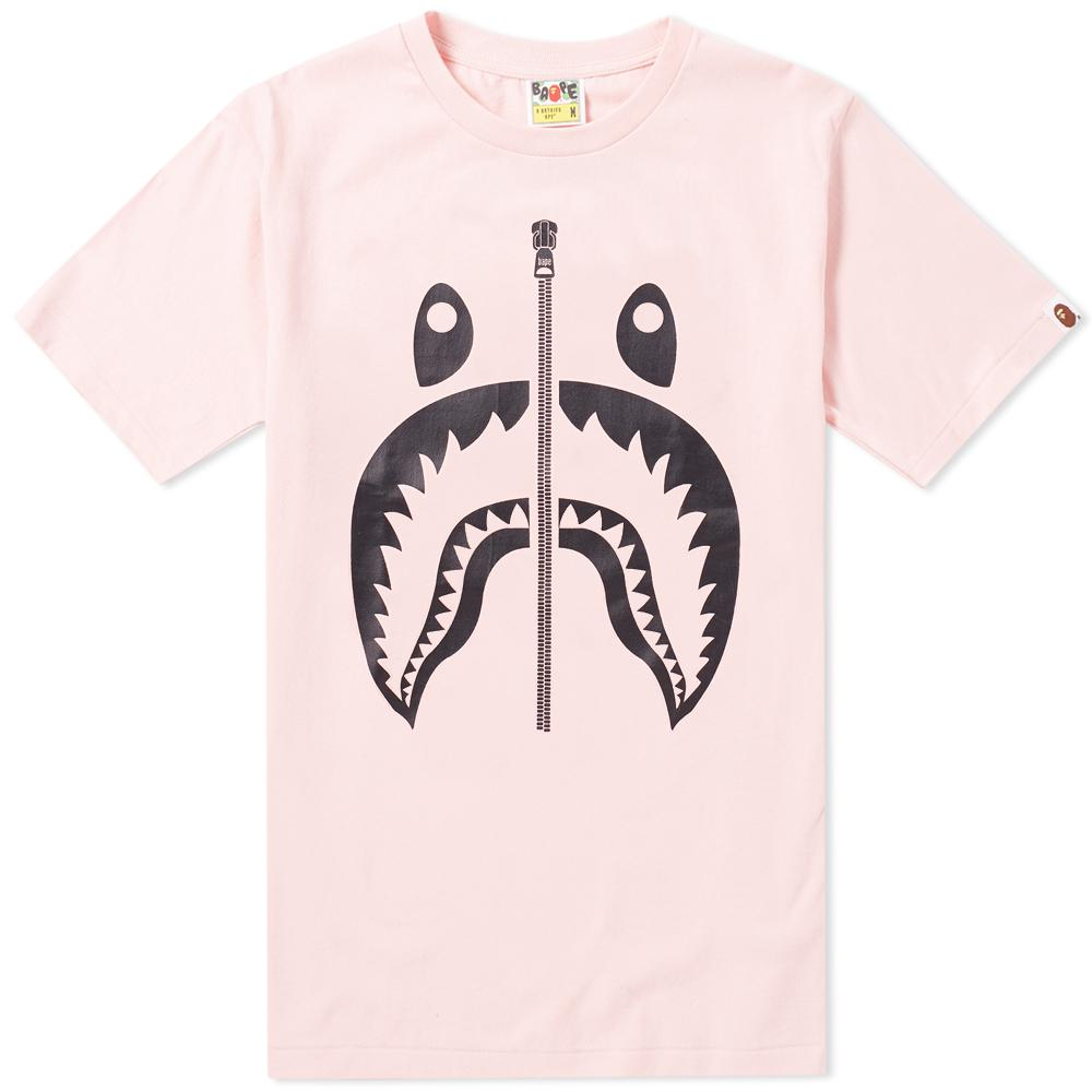 d52685f3 Lyst - A Bathing Ape Bicolour Shark Tee in Pink for Men