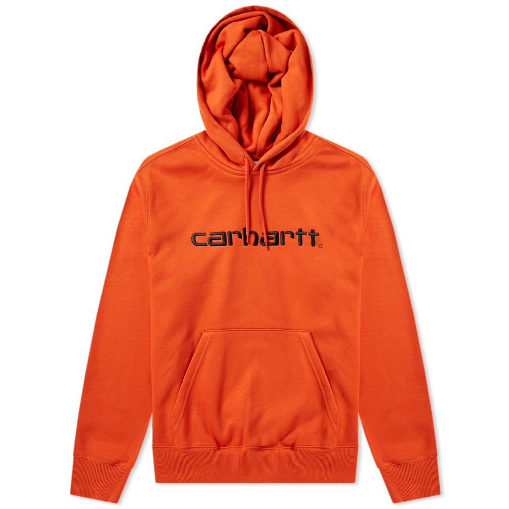 3e89ff19 Carhartt WIP Logo Embroidered Hooded Sweatshirt in Orange for Men - Lyst