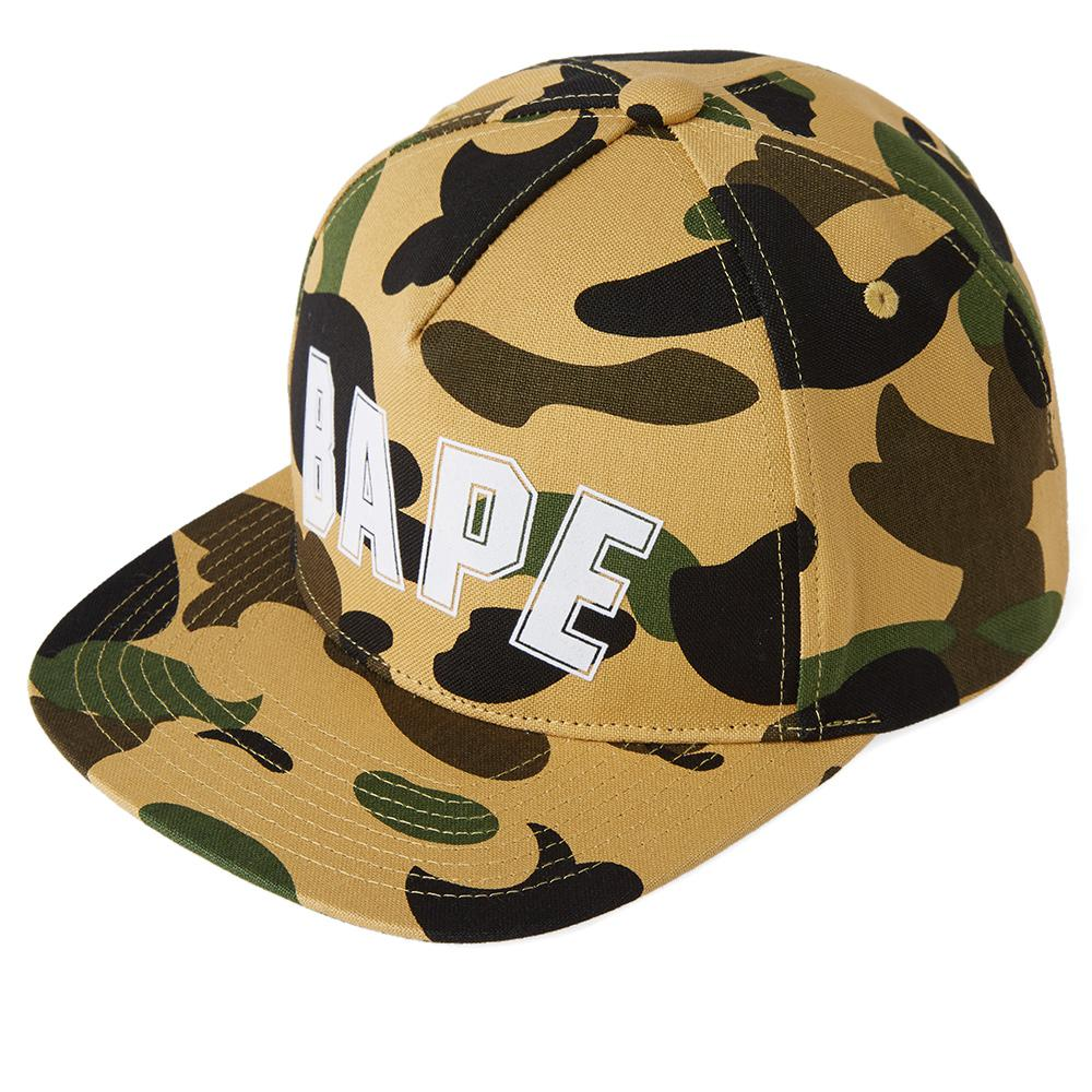 A Bathing Ape 1st Camo Bape Outline Snapback in Yellow for Men - Lyst 3b5475289