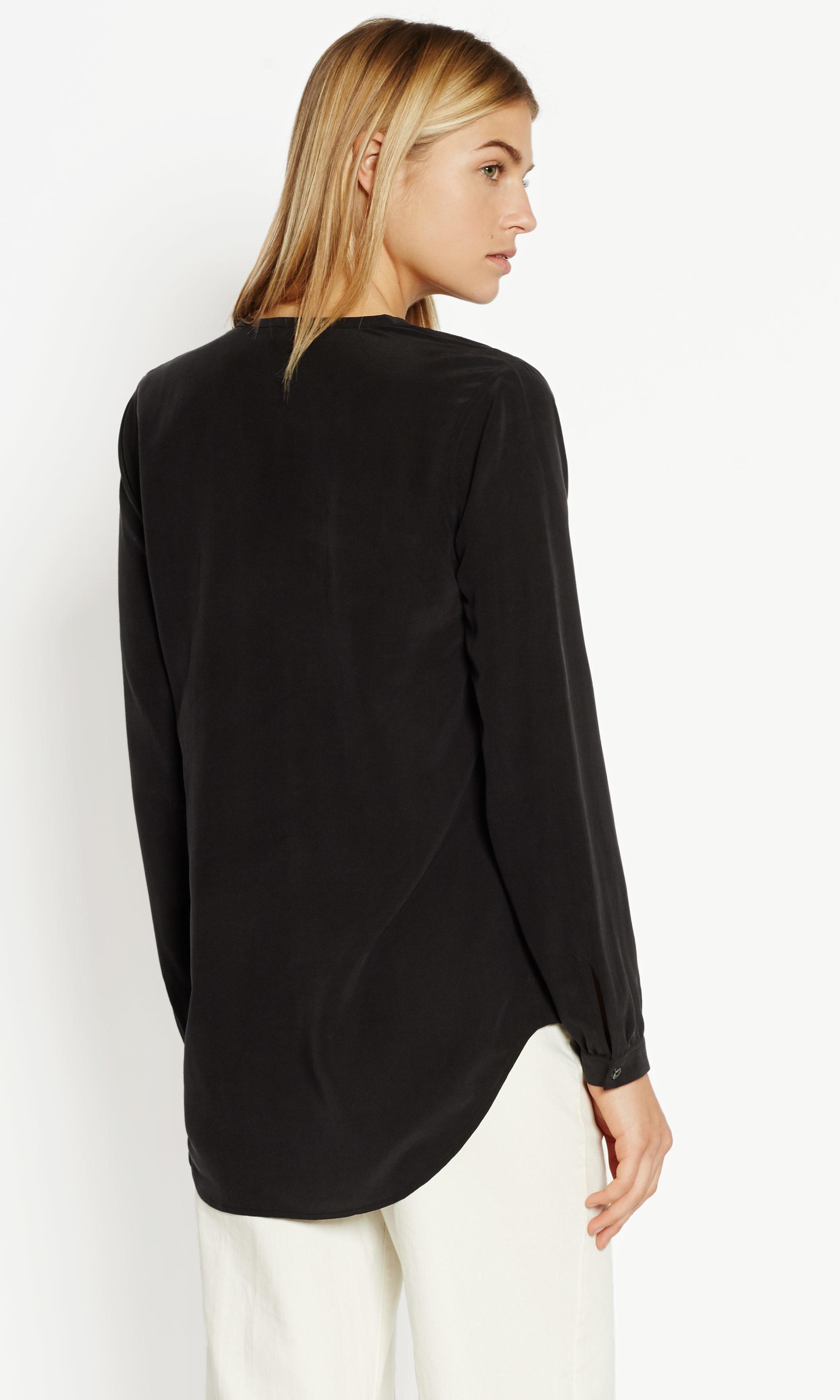 Equipment faye silk shirt in black lyst for Equipment black silk shirt