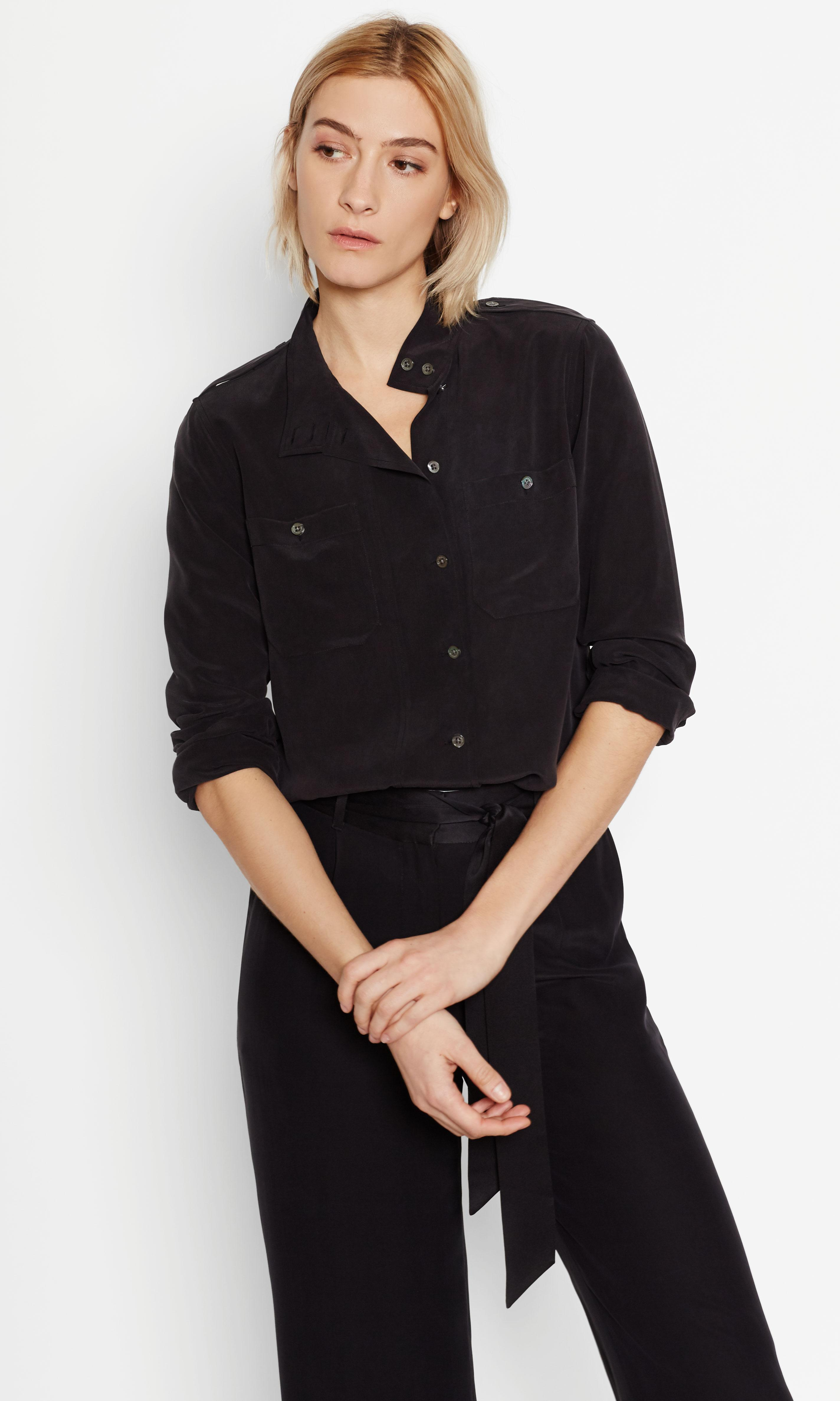 Equipment alma silk shirt in black lyst for Equipment black silk shirt