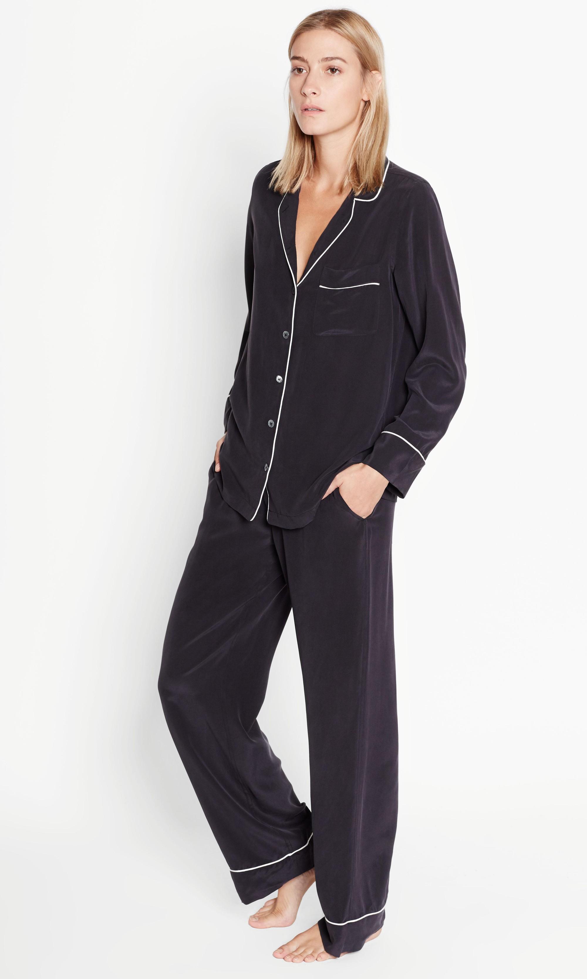 54dcb469c1 Lyst - Equipment Avery Pajama Set in Black