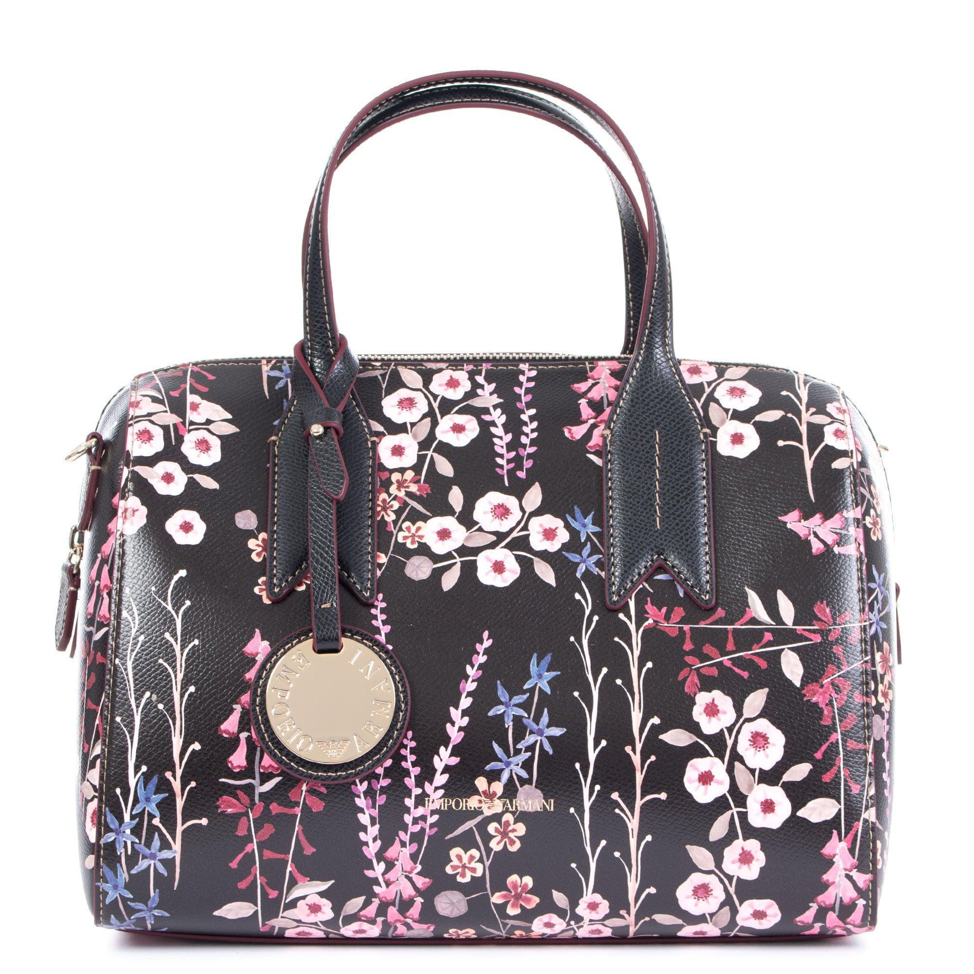 c630df670c Emporio Armani Floral Print Bowling Bag in Brown - Lyst