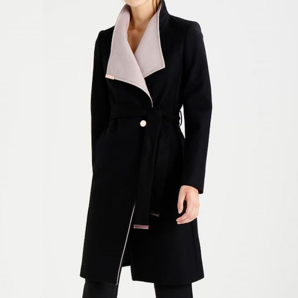 e907e80e969f Ted Baker Khera Contrast Wrap Coat in Black - Lyst