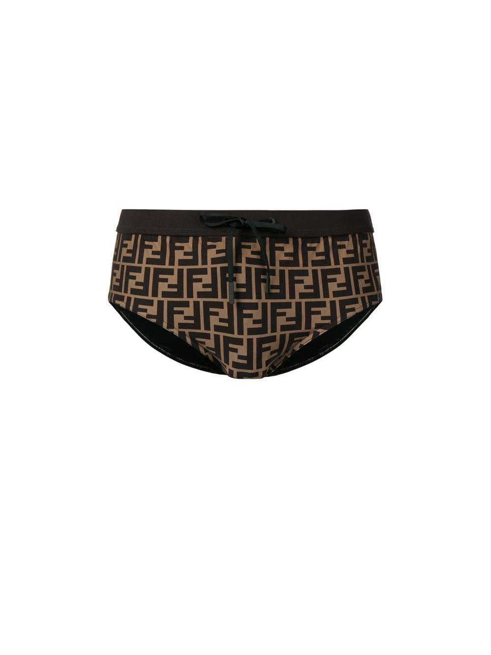 6ed10c5ee6 Fendi Ff Logo Swimming Trunks in Brown for Men - Lyst