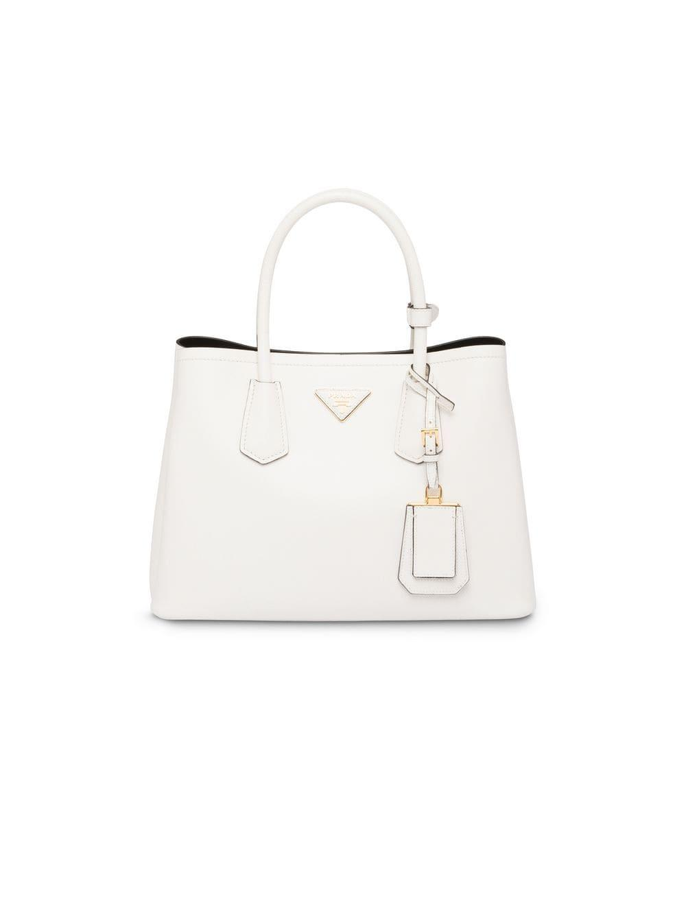 c15dbf6c79b9 Prada Double Small Tote Bag in White - Lyst