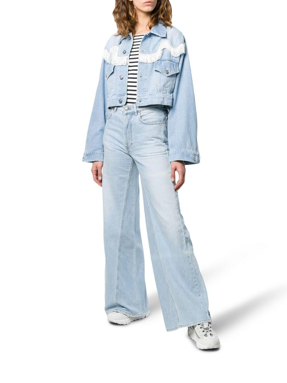47a6b5dae41 Lyst - Ganni Cropped Denim Jacket in Blue