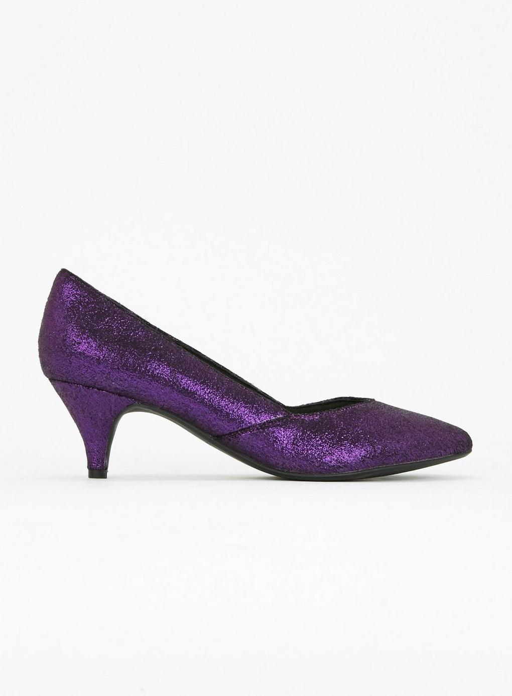 155fa37ff2b Evans - Extra Wide Fit Purple Sparkle Court Shoes - Lyst. View fullscreen