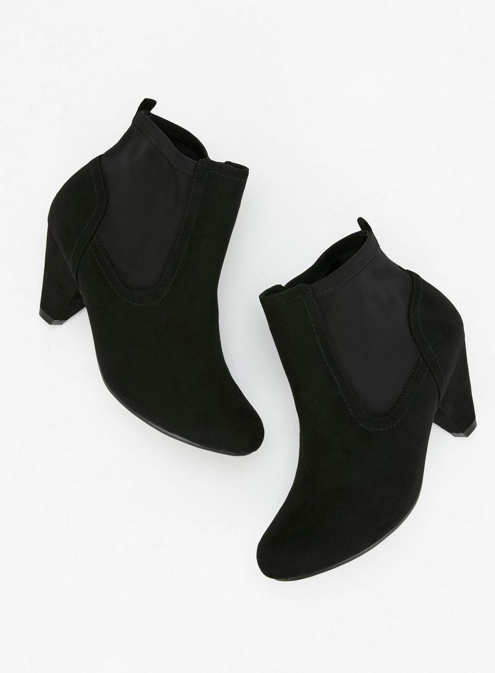 3935faaa27 Evans Extra Wide Fit Black Low Heel Ankle Boots in Black - Lyst